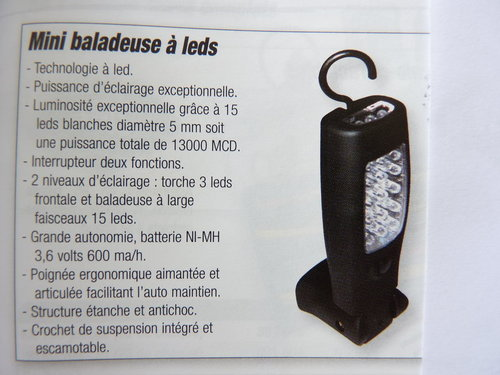 Baladeuse à led rechargeable